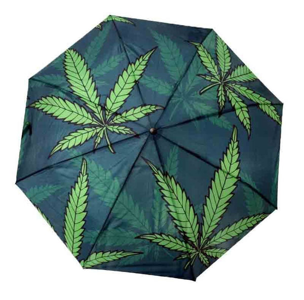 Open Umbrella with Green Leaf Design