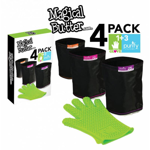 Magical Butter 4-Pack Filter Combo w/ 3 Purify Bags - 25, 73 & 220 micron as well as 1 Silicone Love Glove