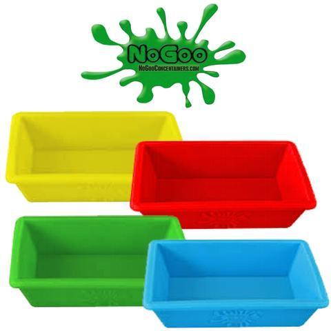 Collection of each colour of small NoGoo Silicone Dish - Yellow, Red, Greena and Blue.  Headshop Vancouver Canada.