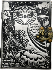 "5"" x 7"" Black & Silver Owl Leather Journal w/ Metal Lock"