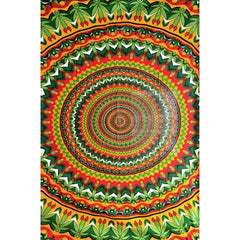 "55"" x 85"" Tapestry - Rasta Circles w/ Leaves"