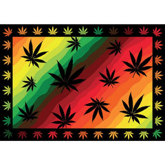 "55"" x 85"" Tapestry - Rasta Leaves"