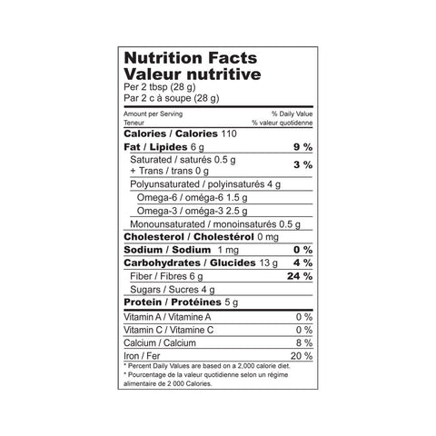 Nutrition Facts for high fiber Holy Crap cereal