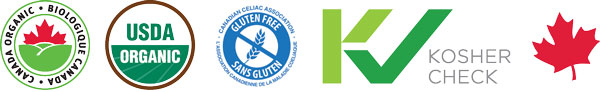 Certification Seals for Holy Crap include Organic Gluten Free Kosher Check