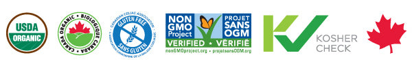 Organic, non-GMO, Kosher, and Gluten Free certifications for breakfast cereals