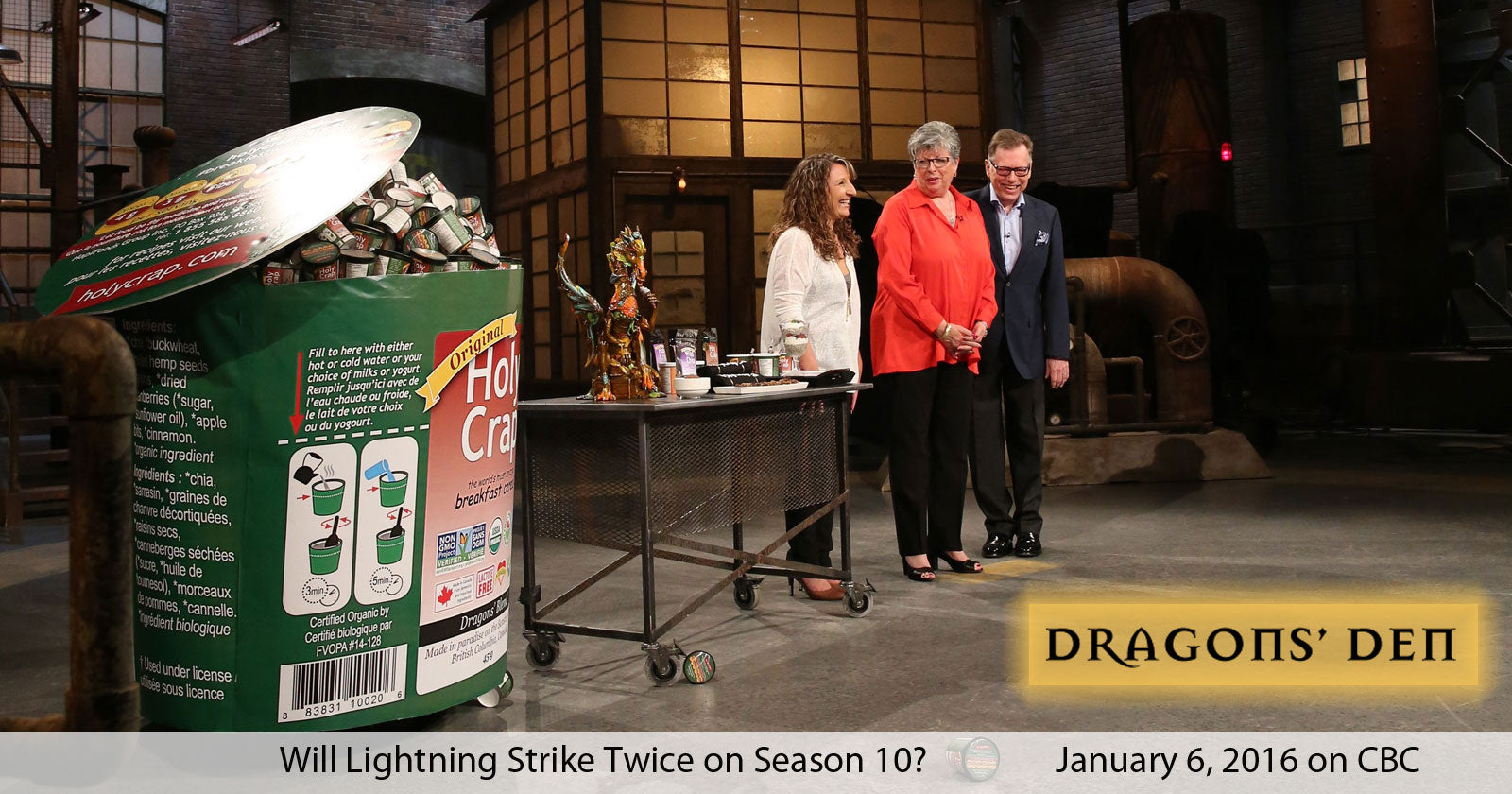 Brian and Corin Mullins with Executive Assistant, Dorothy Raymond on the set of the Dragons' Den