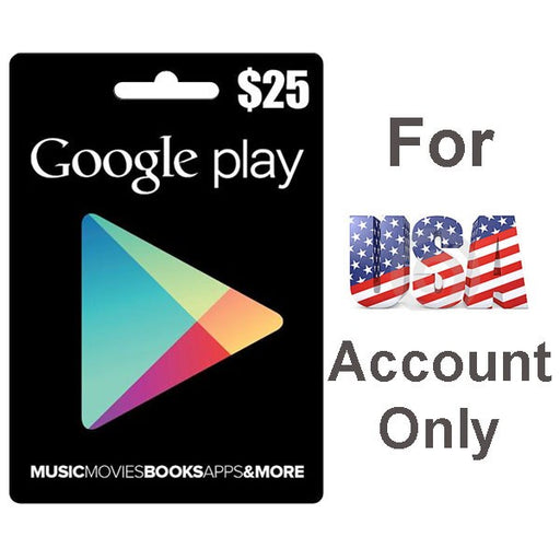 Google Play Cards 25$ for USA Acoount Only  - Delivery by Email