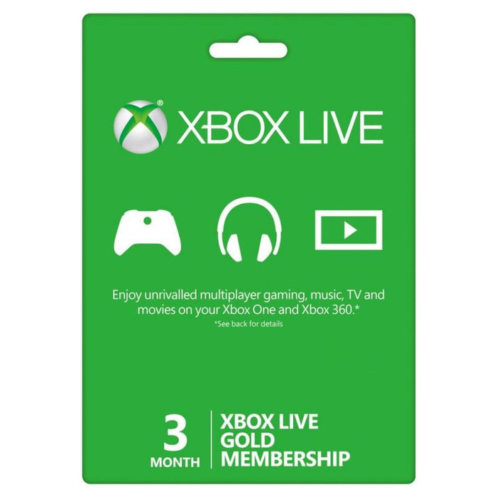 Microsoft Live 3 Month Gold Card For XBOX ONE and XBOX 360