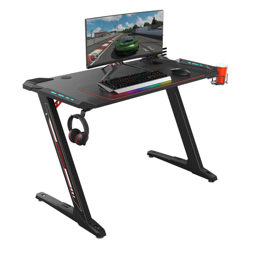 Eureka Ergonomic Z1-S Gaming Desk with LED Lights, Controller Stand, Cup Holder & Headphone Hook - Black