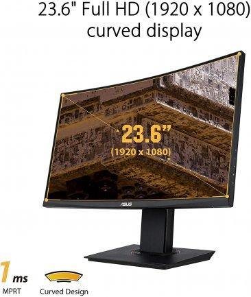 ASUS TUF Gaming VG24VQ Curved Gaming Monitor – 23.6 inch Full HD (1920 x 1080), 144Hz, Extreme Low Motion Blur, FreeSync, 1ms (MPRT), Shadow Boost
