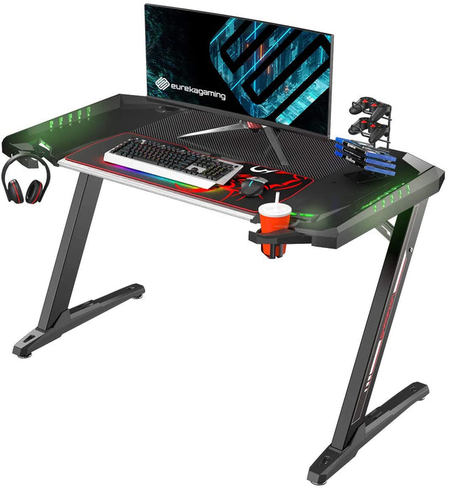 Eureka Ergonomic General Series Z2 51'' E-sports Gaming Desk with RGB Lights