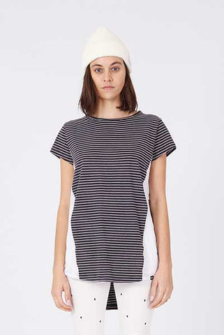 Rpm Ava Tee - Navy Grey Stripe