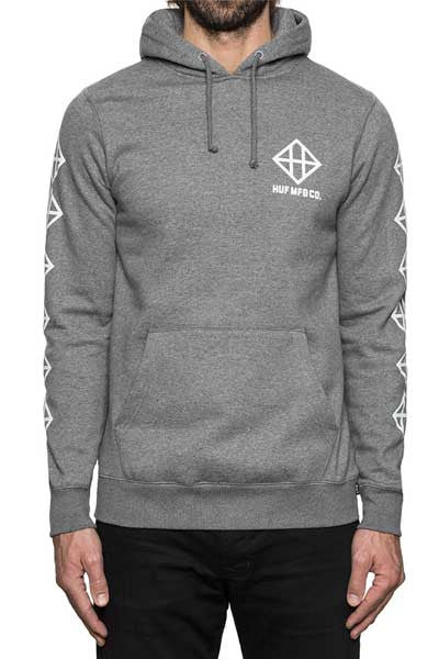 HUF Squared Up Pullover Hood - Grey Heather