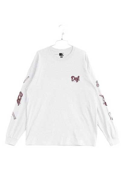 DEF Hairy Logo L/S Tee - White/Maroon