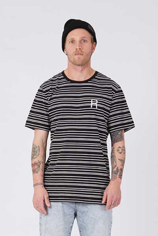 Rpm Everyday Tee - Black White Stripe