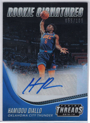 Hamidou Diallo autograph rookie card 2018-19 Panini Threads Basketball No. 29