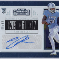 Anthony Ratliff-Williams autograph rookie card 2019 Contenders Draft Picks /99 UNC