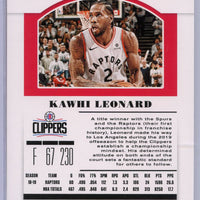 2019 Panini Contenders Draft Picks Kawhi Leonard Season ticket card #26