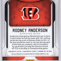 2019 Panini Certified Football No. 140 Rodney Anderson autograph rookie card 02/10 Bengals RB
