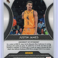 2019 Panini Prizm Draft Picks SILVER Justin James rookie card #39 Wyoming - Sacramento Kings