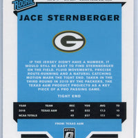 2019 Panini - Donruss Optic Football Silver Prizm Jace Sternberger Rated Rookie card #198 Packers TE