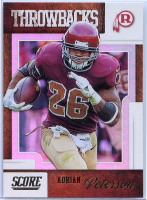Adrian Peterson 2019 Score Football Throwbacks T-12 card