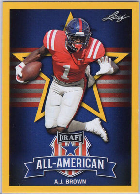 2019 Leaf Draft All-American A.J. Brown Yellow #76 Card Ole Miss