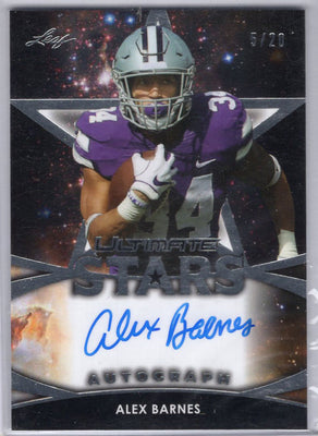 5/10 Alex Barnes autograph rookie card SA-AB1 Leaf Ultimate Stars