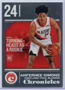Anfernee Simons Turning Heads as a Rookie card No. 537 Chronicles Basketball