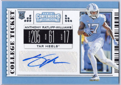 Anthony Ratliff-Williams Auto RC College Ticket 2019 Contenders Draft Picks #159