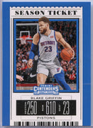 2019 Blake Griffin Season Ticket Card Number 4 Pistons