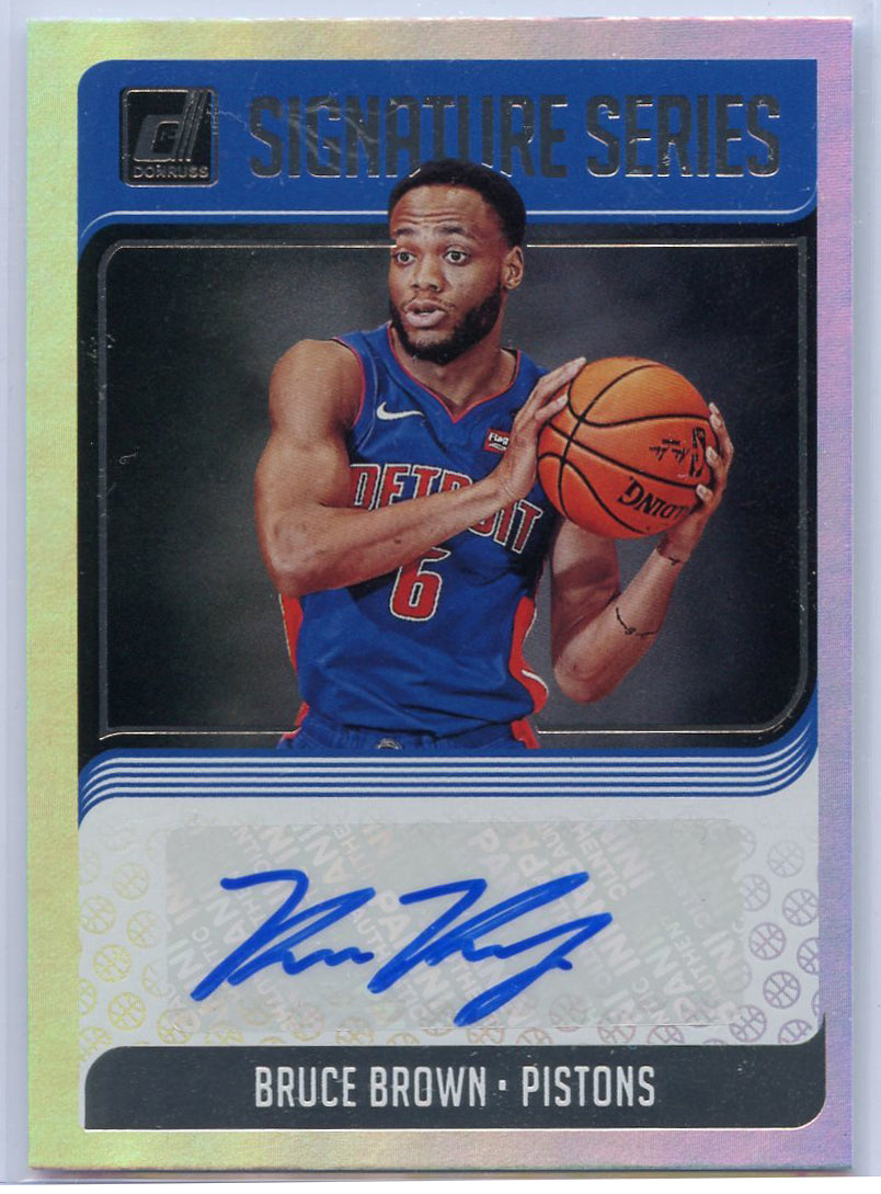 Bruce Brown Autograph Rookie Card #SG-BBR Panini Donruss Basketball 2018-29 Pistons