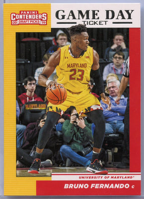Bruno Fernando rookie card 2019 Contenders Draft Picks #28 Game Day Ticket Maryland