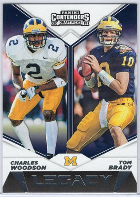2019 Contenders Draft Picks No. 8 Legacy card Tom Brady and Charles Woodson Michigan