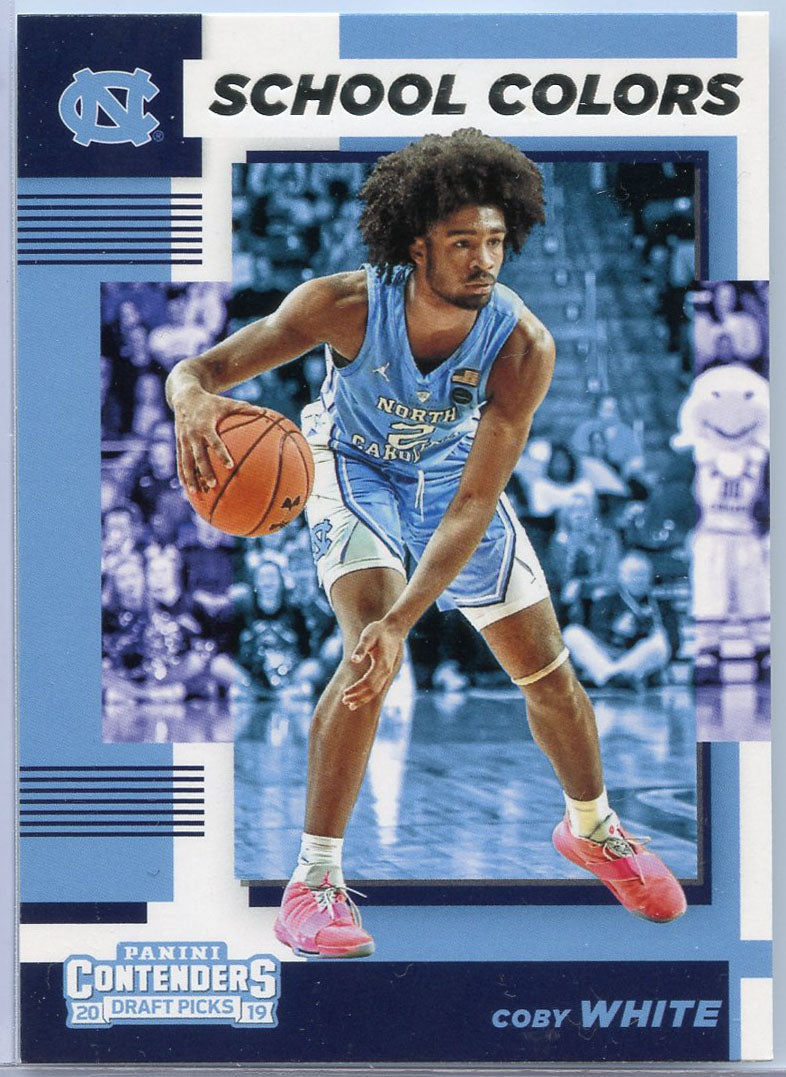 Coby White rookie card 2019 Contenders Draft Picks School Colors North Carolina