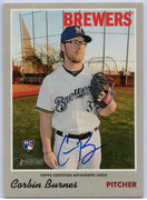 Corbin Burnes Autograph Rookie Card ROA-CBU 2019 Topps Heritage Milwaukee Brewers Pitcher