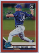 25/60 Corbin Burnes Red Rated Rookie card #33 2019 Panini Donruss Optic Baseball Milwaukee Brewers Pitcher