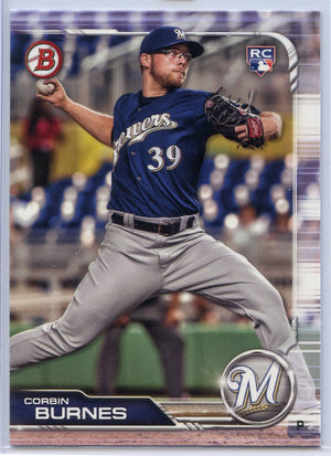 Corbin Burnes rookie card Milwaukee Brewers pitcher Topps Bowman baseball 2019