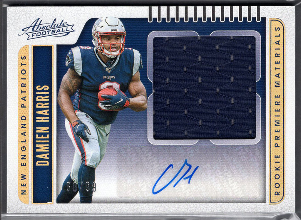 Damien Harris RPA Rookie Card Patch Autograph 60/99 Panini Absolute Football No. 206