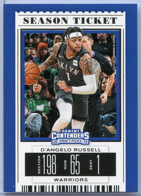 D'Angelo Russell basketball card Season Ticket #10 Contenders Draft Picks 2019
