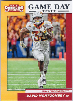 David Montgomery 2019 Game Day Ticket #18 football card