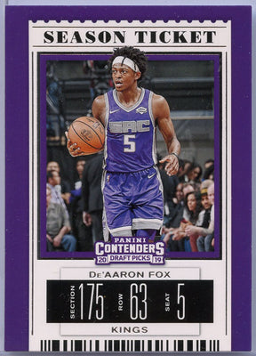 De'Aaron Fox 2019 card Contenders Draft Picks number 12