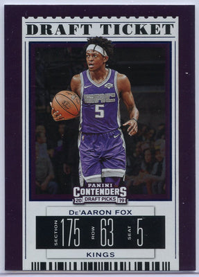De'Aaron Fox Draft Ticket card 2019 Panini Contenders Draft Picks No. 12