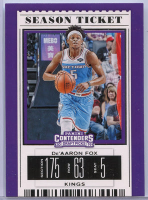 De'Aaron Fox Sac Town card number 12 Contenders Draft Picks 2019