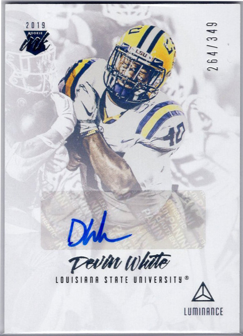 Devin White Auto 2019 Panini Luminance Football Rookie Ink card