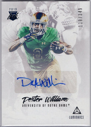 Dexter Williams auto rc 2019 Panini Luminance Rookie Ink #RI-DW Packers card