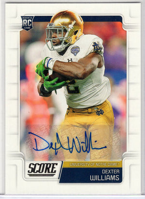 Dexter Williams autograph rookie card 2019 Score Football No. 342