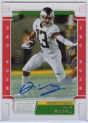Dillon Mitchell autograph rookie card 01/20 - 2019 Score Football Red Zone No. 388
