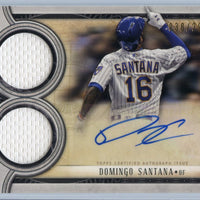 /299 Domingo Santana Autograph Signature Swatches Dual Relic 2018 TOPPS Museum Collection Baseball Brewers