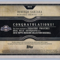2018 TOPPS certified autograph issue Domingo Santana Signature Swatches Dual Relic autograph card /299 Milwaukee Brewers